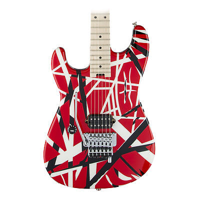 EVH Striped Series Left Handed Electric Guitar in Red Black and White Stripes