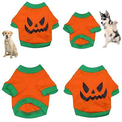 Dog Pet Clothes Evil Face Pumpkin Costume Halloween Dog Vest T-Shirts  Fine