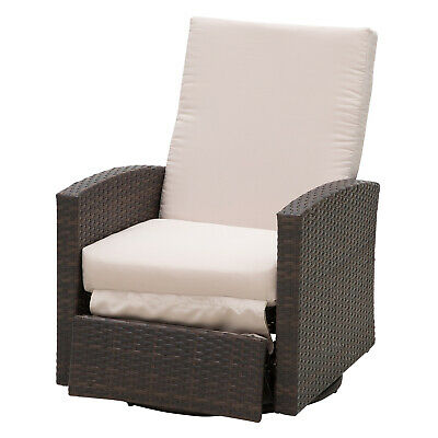 Deluxe Rattan Wicker Swivel Rocking Sofa Chair Reclining Lounge Outdoor Patio Grand Wicker Rocking Chair