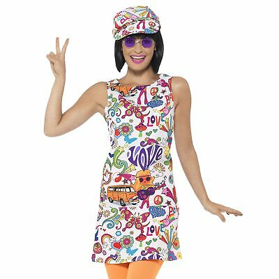 Ladies Adult 60s 70s Groovy Chick Hippy Hippie Fancy Dress Costume Disco Retro