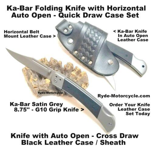 KA-BAR Folding Knife w Cross Draw Auto Open Horizontal Belt Mount Leather Case