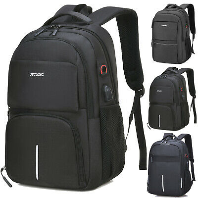 "15.6"" Men Laptop Backpack Waterproof USB Port Large School Bag Travel Rucksack"