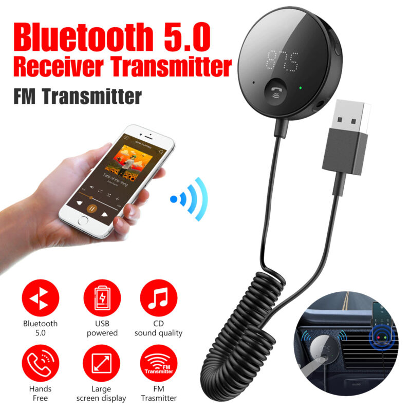 AUX-in Bluetooth 5.0 Car Receiver & FM Transmitter Adapter Wireless Stereo Audio