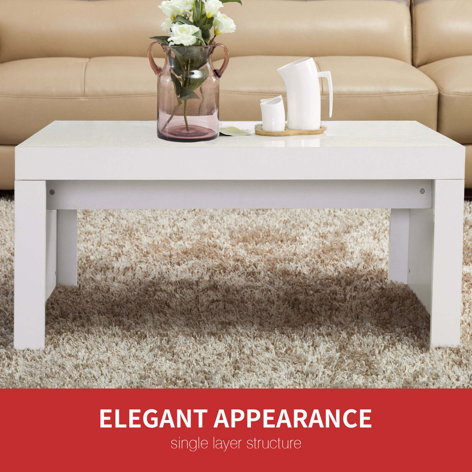 New Modern High Gloss White Rectangle Coffee Table Living