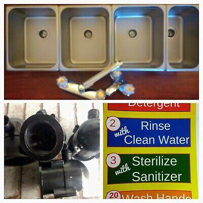 Portable Concession Sink 3 Large Compartment 1 Standard Hand Wash 4 Drain Traps