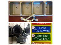 Concession Sink Portable 4 Compartment Stand Food Truck Trailer 3L+1S Drain Trap