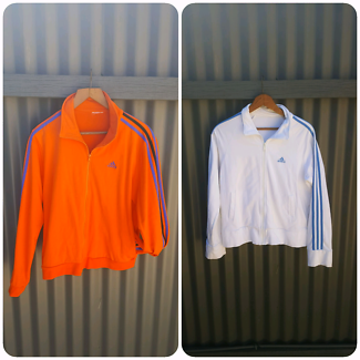 x2 Adidas Cotton Jackets S/M White Blue Orange