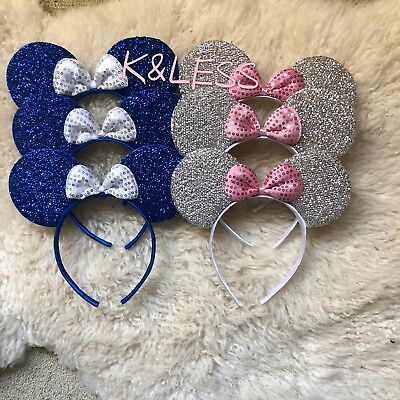 12Minnie-Mickey-Mouse-Ear-Headband Shiny BLUE SILVER Birthday-Party-Costume-DIY  - Diy Mickey Mouse Costume