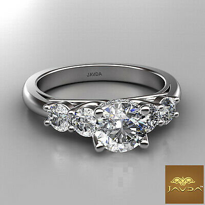 5 Stone Trellis Setting Round Diamond Engagement Prong Ring GIA F Color SI1 1Ct  1