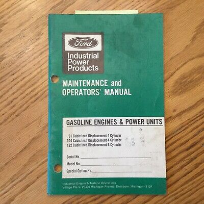 Ford 91 104 122 Engine Power Unit Maintenance Operator Manual Guide Industrial