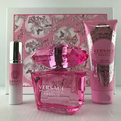 VERSACE BRIGHT CRYSTAL ABSOLU PERFUME GIFT SET 3.0 OZ SPRAY + LOTION + MINI NIB