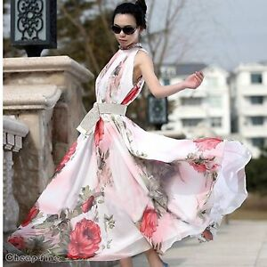 Sexy Women's Maxi Sleeveless Floral Casual Summer Beach Party Long Chiffon Dress
