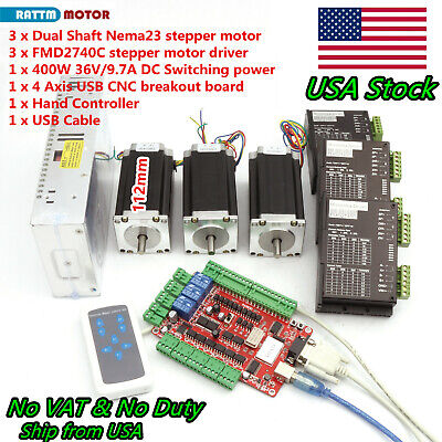 Us3 Axis Usb Cnc Controller Kit Nema23 Stepper Motor 112mm 425oz4a 40v Driver