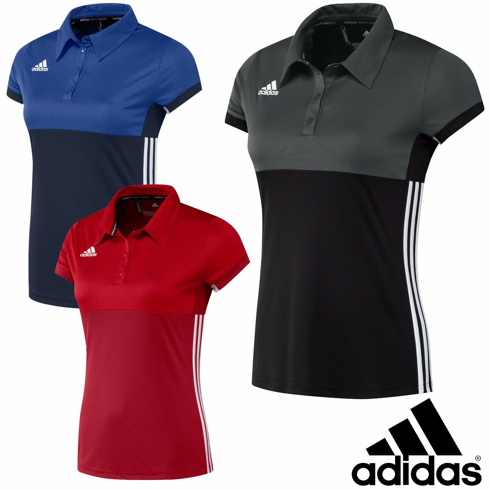 finest selection de69f 82b00 Details about adidas Ladies T16 Sports Polo Shirt Climacool Gym Running  Womens T-Shirt Top
