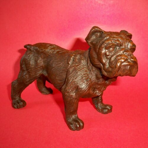 Vintage Mid Century English Bulldog / Bull Dog Sculpture of Molded Carved Resin