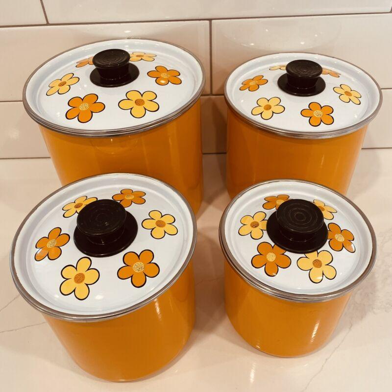 Vintage CANISTER SET - Orange gold flowers - RETRO ORANGE AMAZING! 8 pc