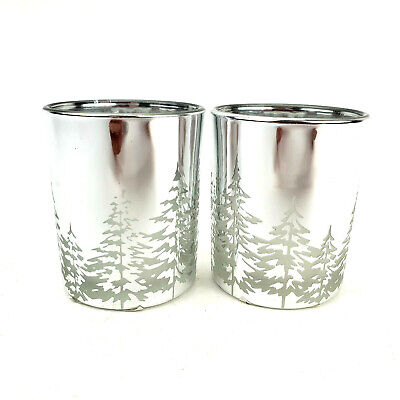 Yankee Candle Winter Trees Silver Votive Tealight Holders