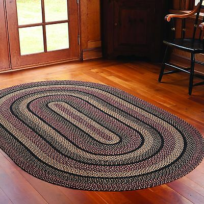 IHF Home Decor Braided Acreage Rug Jute Oval Carpet Blackberry Design - 6' x 9'