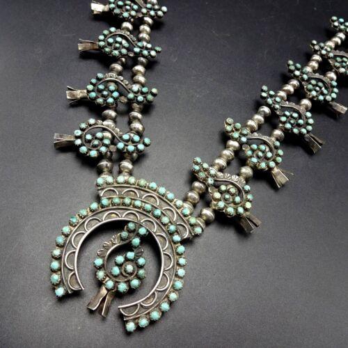 Vintage Zuni Sterling Silver Snake Eye Turquoise Squash Blossom Necklace G-clef