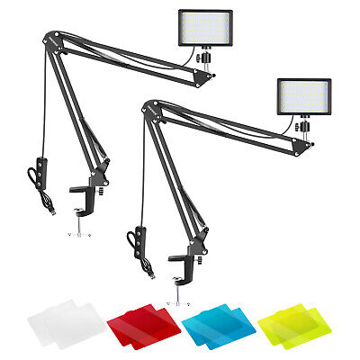 Neewer 2 Packs Dimmable 5600K USB LED Video Light with Desktop Clamp Arm Stand