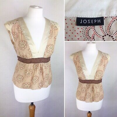 Joseph Silk Cotton Beige Floral Tie-Back Top Size Medium V-Neck Summer