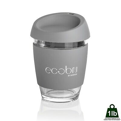 Reusable Coffee Cup - Travel Mug with Lid - Eco-Friendly Keepcup - Glass - Grey