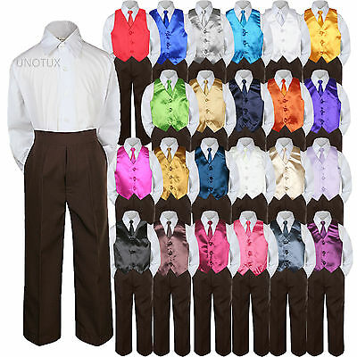 Color Choice 4pc Vest Necktie Boys Suit Brown Set Baby To...