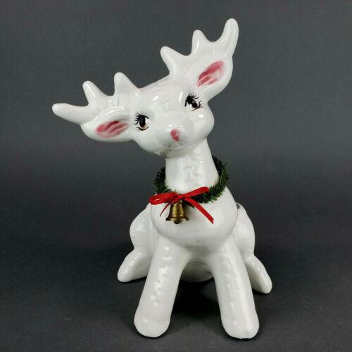 Vintage Reindeer Planter Ceramic White Christmas