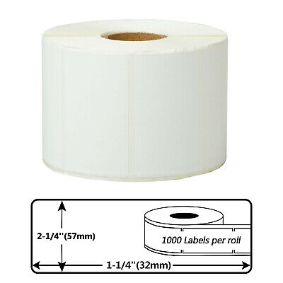 1 Roll 2.25x1.25 Direct Thermal Barcode Label - 1000roll For Zebra Lp2844