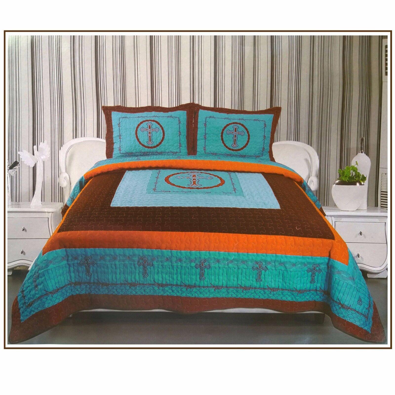 3Pcs Western Design Cross Barbed Wire Quilt BedSpread Comforter ...