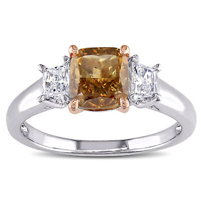 Amour Brown & White Diamond 3-Stone Engagement Ring in 2-Tone 14k Gold 6
