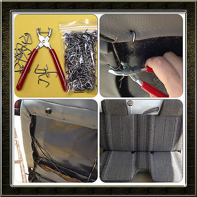 """Hog Ring Pliers and Galvanized Hog Rings 3/4"""" Kit Upholstery, Seat Covers Bungee"""