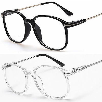 Groß Oval Rund Klar Linse Mode Brille Slim Rahmen Herren Damen