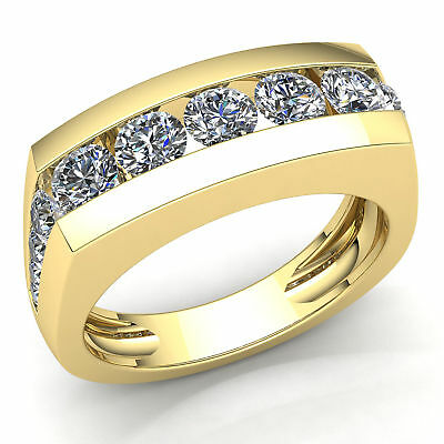 1ctw Round Cut Diamond Mens Channel Bar Anniversary Wedding Band 14K - Bar Channel Diamond Band