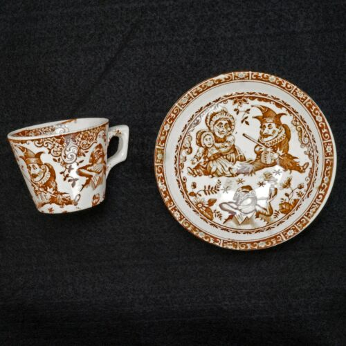 Child's Staffordshire Allerton Punch and Judy Teacup and Saucer late 19th C