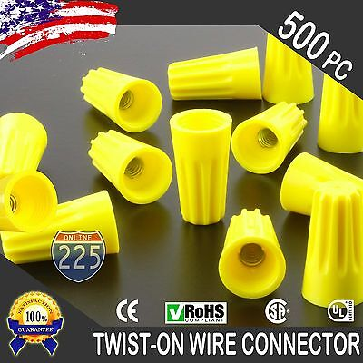 (500) Yellow Twist-On Wire GARD Connector Conical nuts 18-12 Gauge Barrel Screw