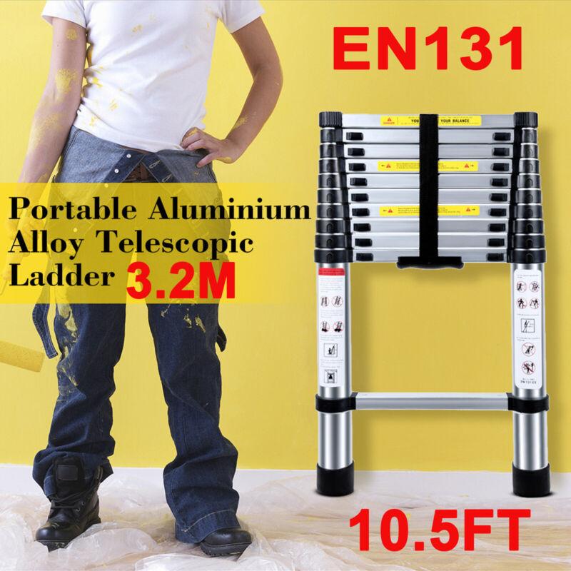 EN131 10.5ft Telescoping Ladder Aluminum Telescopic Extension Tall Multi Purpose