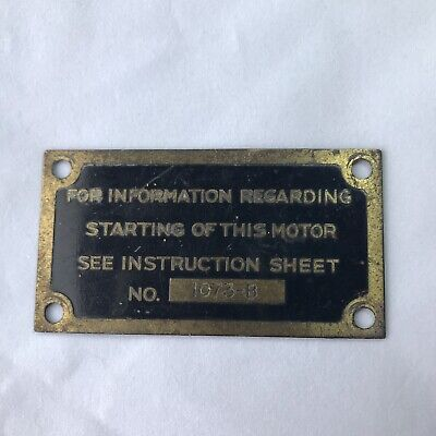 VINTAGE TAG METAL PLATE MOTOR INSTRUCTION CHICAGO