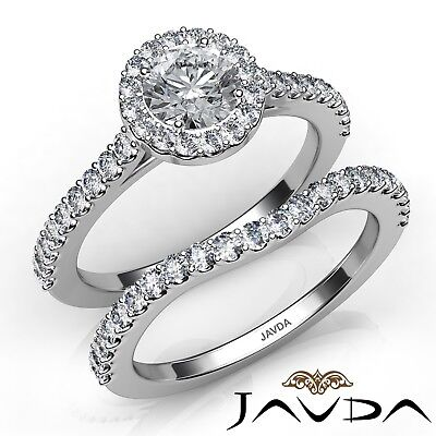 1.5ct U Cut Prong Halo Bridal Set Round Diamond Engagement Ring GIA G-VS1 W Gold