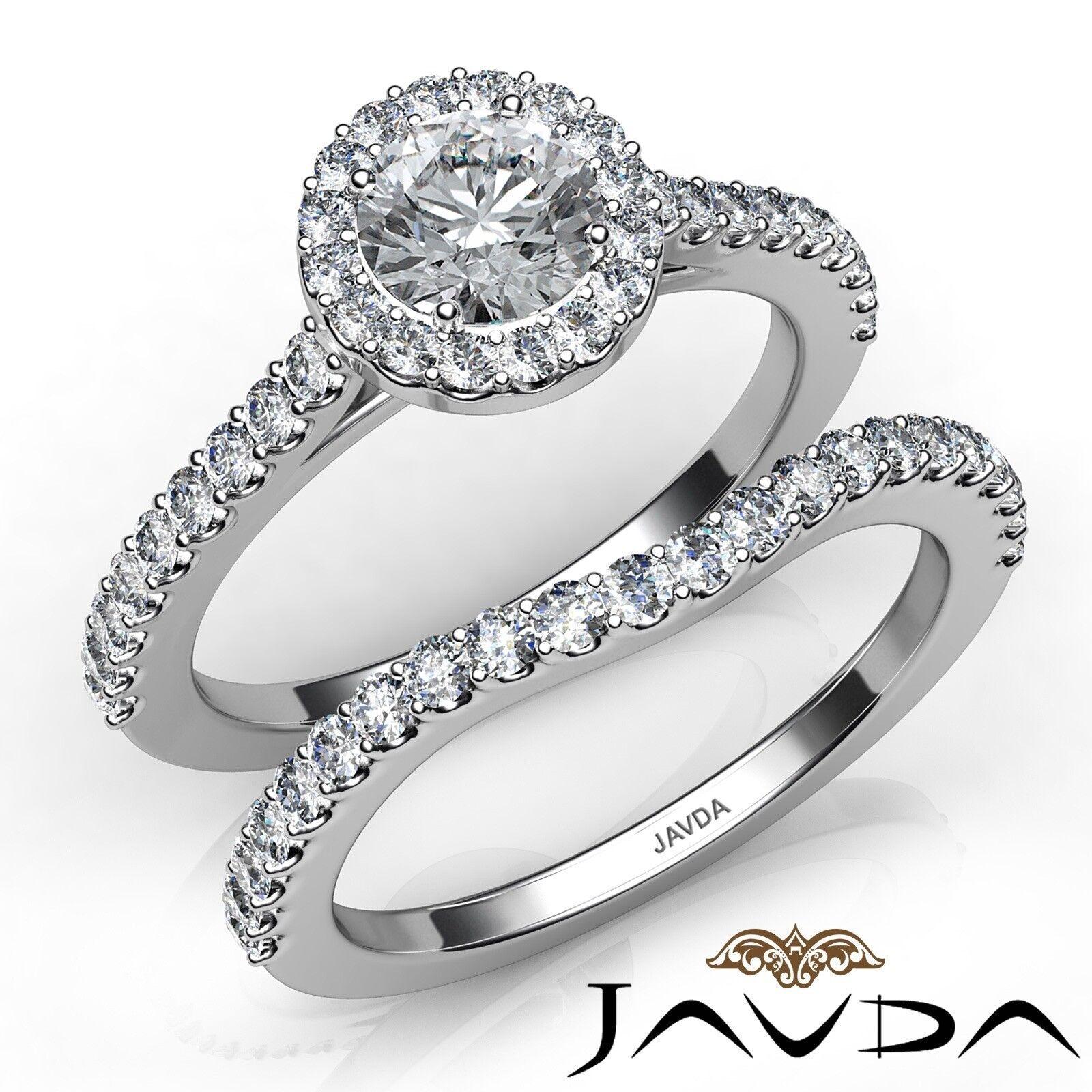 1.5ct U Cut Prong Halo Bridal Set Round Diamond Engagement Ring GIA G-VS1 W Gold