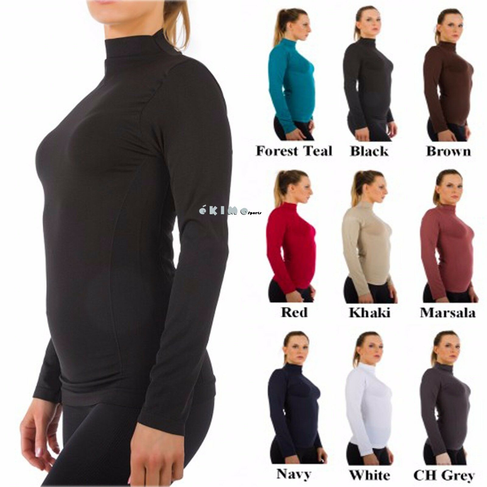 как выглядит Женская футболка Women Mock Neck Long Sleeve Shirt Turtleneck Top Stretch Slim Fit Tee Shirt фото