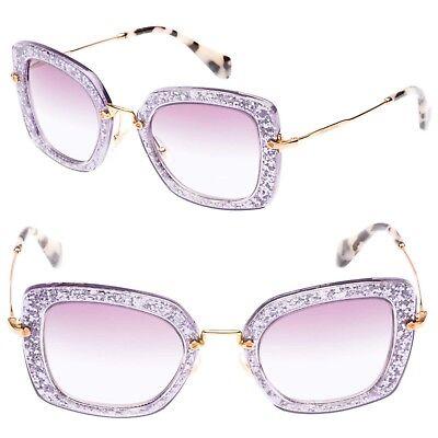 MIU MIU SMU 07O Noir Square Acetate Sunglasses in Wisteria Purple (Miu Miu Acetate Sunglasses)