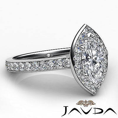 Halo Micro Pave Marquise Cut Diamond Engagement Cathedral Ring GIA F VS1 1.17Ct 2
