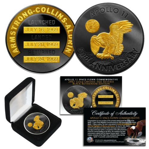 Apollo 11 50th Anniversary NASA Space 1 OZ  Robbins Medal 24K & BLACK RUTHENIUM