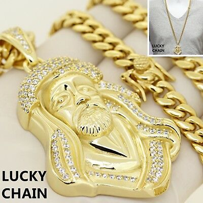 STAINLESS STEEL BLING OUT JESUS FACE HEAD GOLD PENDANT CUBAN CHAIN -