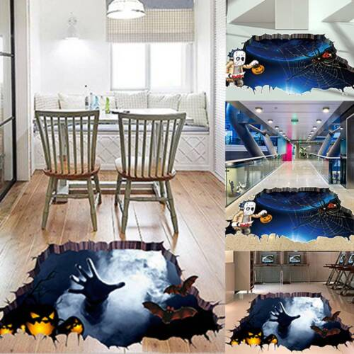 Home Decoration - 3D Broken Wall Sticker Halloween Horror Floor Removable Decal Home Decor Props