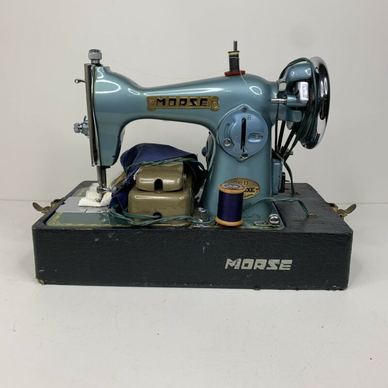 Vintage Morse 200 Deluxe Sewing Machine Blue Turquoise With Box