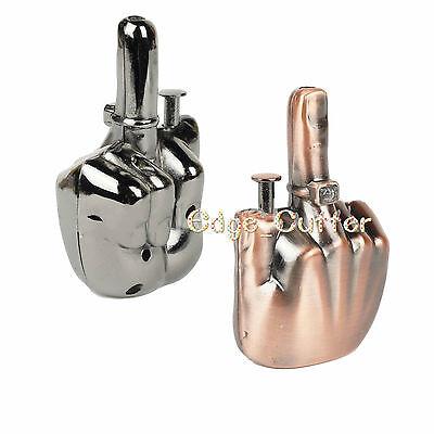 Talking Shooting Middle Finger Refillable Lighter W/ Adjustable Jet Torch Flame