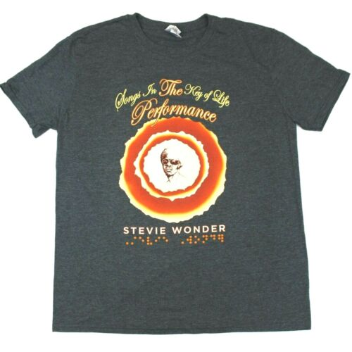 """Stevie Wonder """"Songs In The Key Of Life"""" Braille Tee Tour Exclusive - Gray - L"""