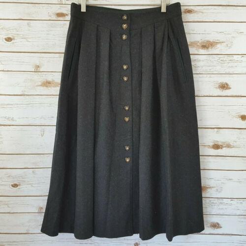 German Austria Traditional Skirt 44 L 12 Dirndl Tyrol Style Wool Heart Buttons